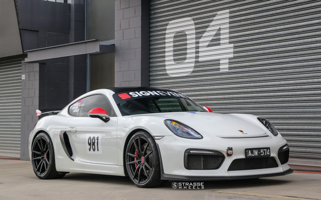 porsche cayman gt4 mit felgen von strasse wheels tracktools. Black Bedroom Furniture Sets. Home Design Ideas